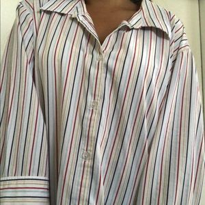 Tops - Oversized Multicolored Striped Button Up Top🔺